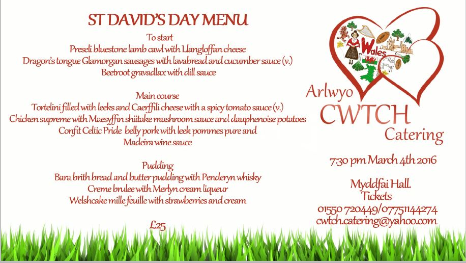 St Davids day menu